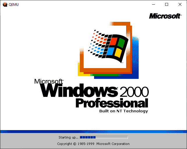 Running Windows 2000 on WSL